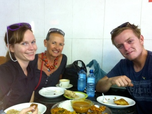 Zelda, Tom, and I at a fantastic Indian restaurant by Victoria Market